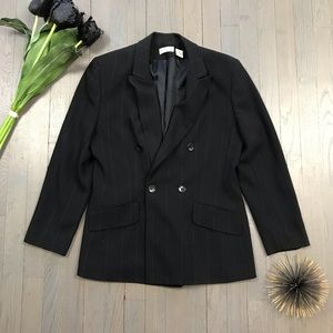 Ann Taylor Black Pinstripe Blazer Sports Jacket